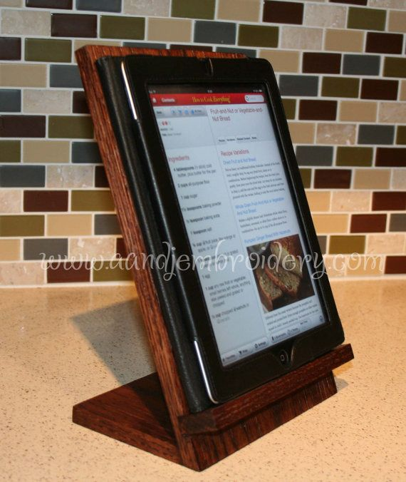 Handcrafted Wooden iPad/Tablet Recipe Stand. Perfect for the kitchen. Three options for finishes.  Can be personalized. Excellent gift!