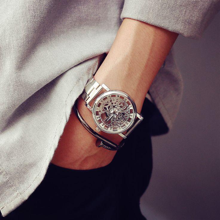 Stainless Steel Skeleton Steampunk Wristwatch