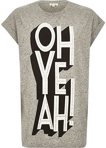 $44, Grey Marl Oh Yeah Print Oversized T Shirt by River Island. Sold by River Island. Click for more info: http://lookastic.com/women/shop_items/149928/redirect