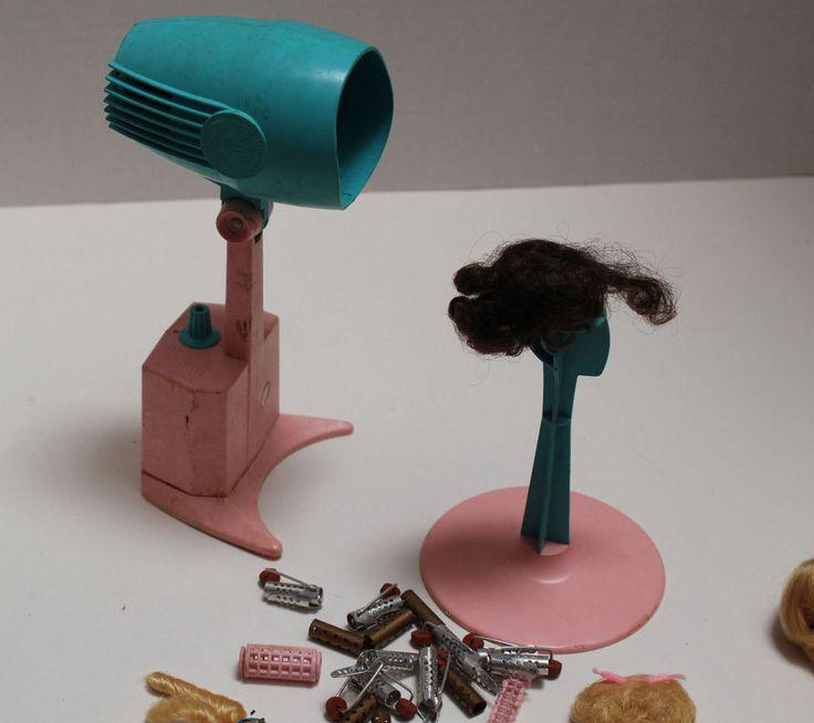 VINTAGE Mattel Barbie Hair Salon Dryer unit, Stand, Hair Rollers, Hair pieces