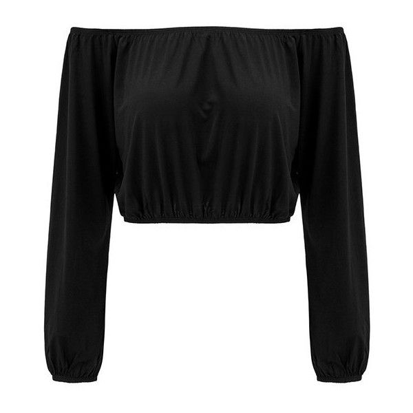 Yoins Black Sexy Off Shoulder Long Sleeves Crop Top (19 CAD) ❤ liked on Polyvore featuring tops