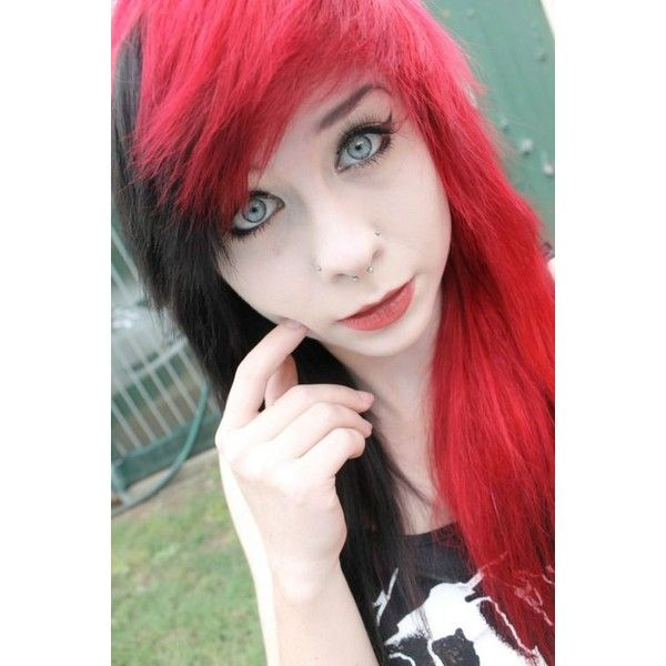 red black hair Google Search Emo/Scene/Punk/Gothic Girls/Guys Pi ❤ liked on Polyvore featuring hair, emo, hair styles and people