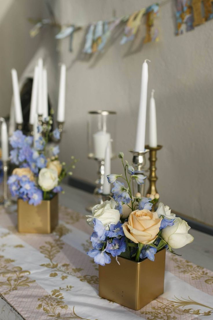 Wedding decor inspirations | Peach and blue pastels with golden details | Dream wedding in the Greek Islands