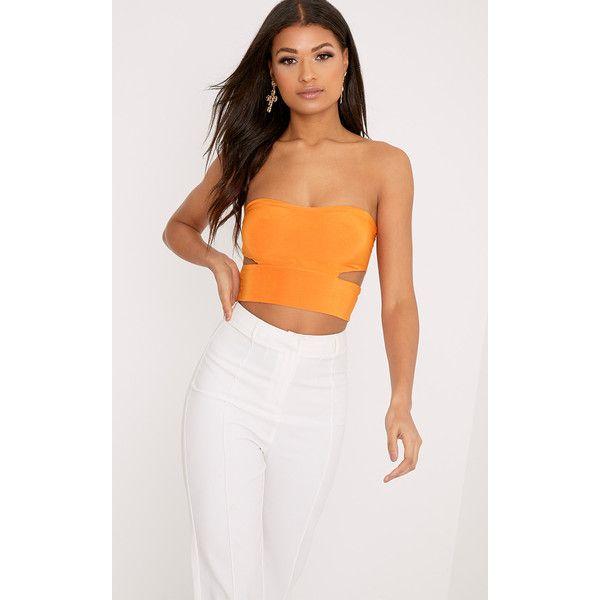 Denise Orange Cut Out Side Slinky Bandeau ($13) via Polyvore featuring orange, bandeau tops and bandeau bikini tops