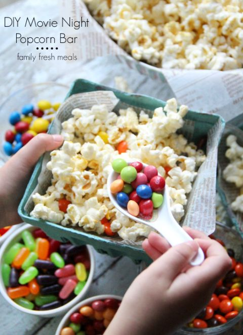 DIY Movie Night Popcorn Bar -- Would be great as a movie night snack or party snack buffet