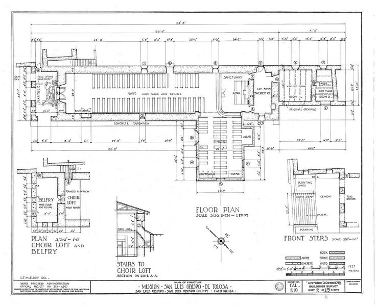 Architectural drawing of floor plan from Historic American ...
