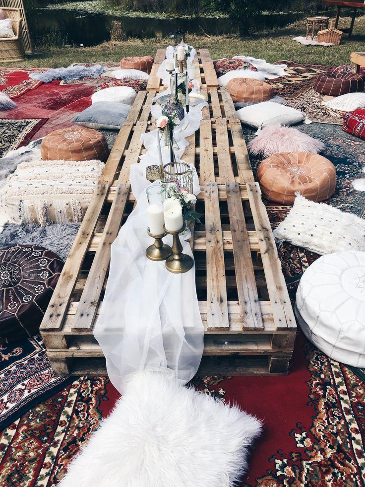 Bohemian wedding banquet style seating by Harper Arrow.     #wedding #weddingsty…