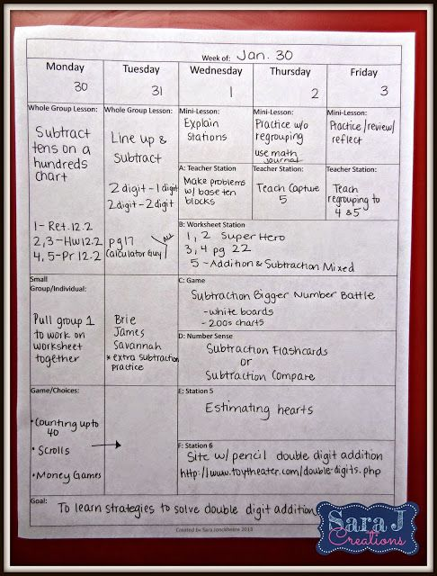 Lesson planning for math workshop!  Ideas here!