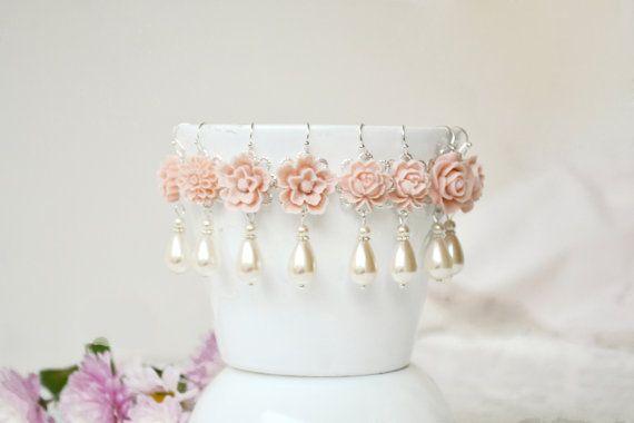 Flower dangle earrings blush dusty pink by ArtemisBridalJewelry