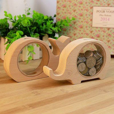 Bf050 Transparent Wood Animal Design Piggy Bank Coin Box 15x9x3cm