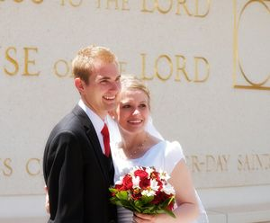 Mormon Marriage Doctrine Isn't Contradictory: Wedding day for a Latter-day Saint couple outside a Mormon temple.