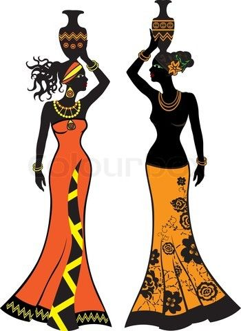 Stock vector of 'Beautiful African woman with vases, two versions'