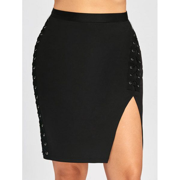 Plus Size Criss Cross Slit High Waist Skirt - Black 5xl Mobile