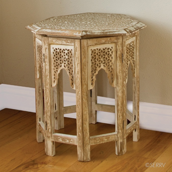 Whitewashed Side Table - made in India from sustainably harvested mango wood