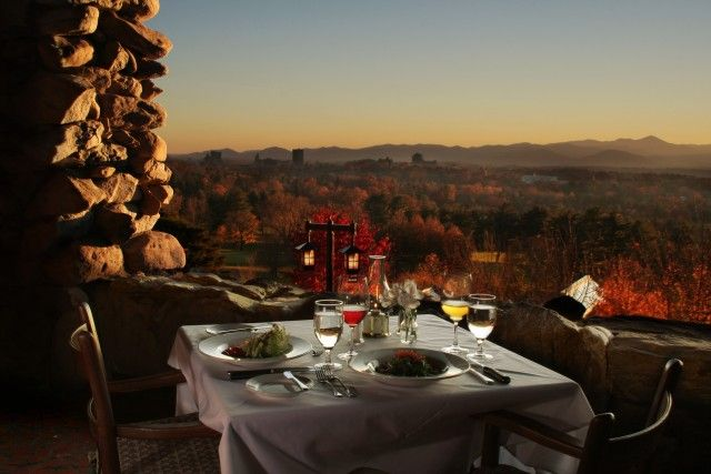 Sunset Terrace at the Grove Park Inn. In Asheville, NC with Mark de Castrique in The Fitzgerald Ruse