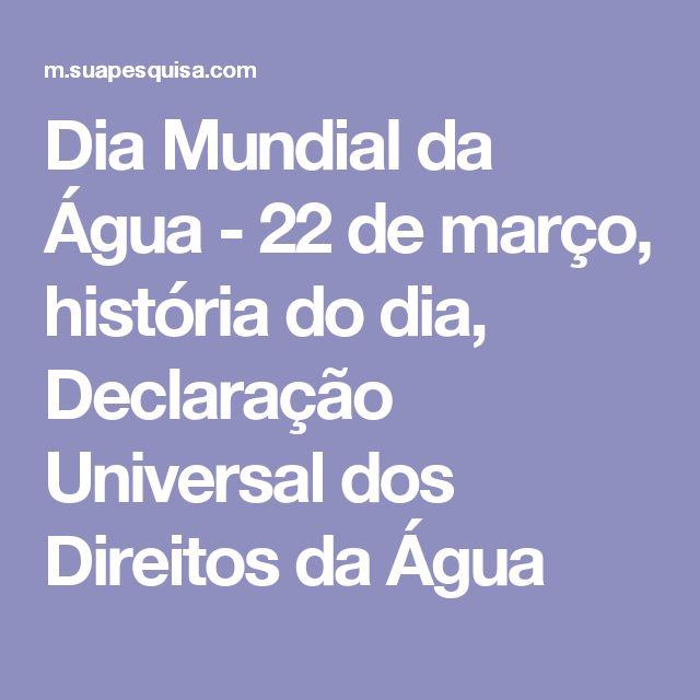 Dia Mundial da Água - 22 de março, história do dia, Declaração Universal dos Direitos da Água