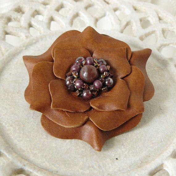 Ruffles Beaded Leather Flower Pin in Savannah by Viridian on Etsy