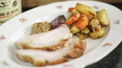 Eén - Dagelijkse kost - varkensribstuk in de oven met geroosterde groenten