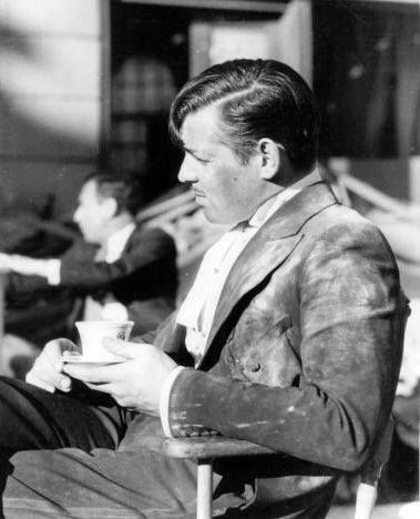 "Clark Gable taking a break on the set of ""San Francisco"" (1936)"