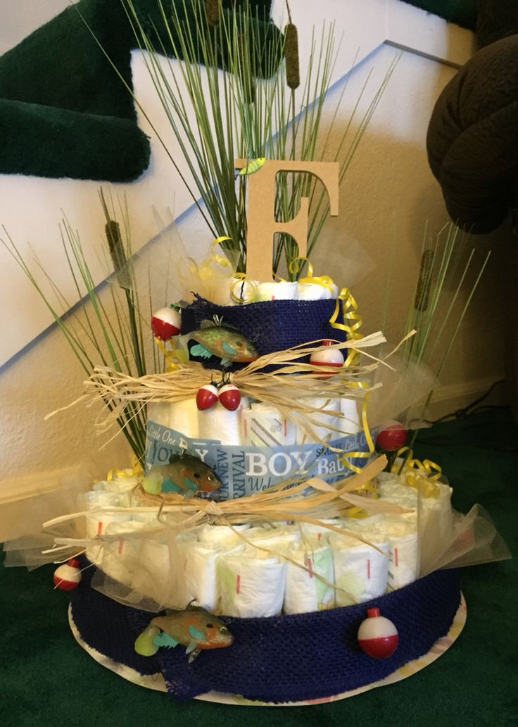 fishing diaper cake