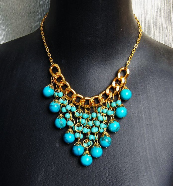 turquoise blue bubble statement necklaceholiday by Arkpearl, $24.00