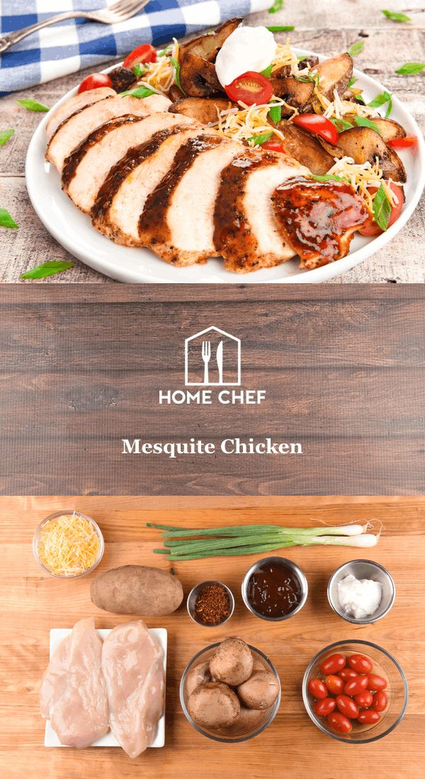 """Mesquite is a tree species native to Mexico and the American Southwest. When smoked, the wood imparts a distinctive sweetness and aroma to foods. Capture that essence with this tangy spiced chicken breast served alongside """"loaded"""" potato wedges. This is a low-calorie meal that'll definitely light your fire."""