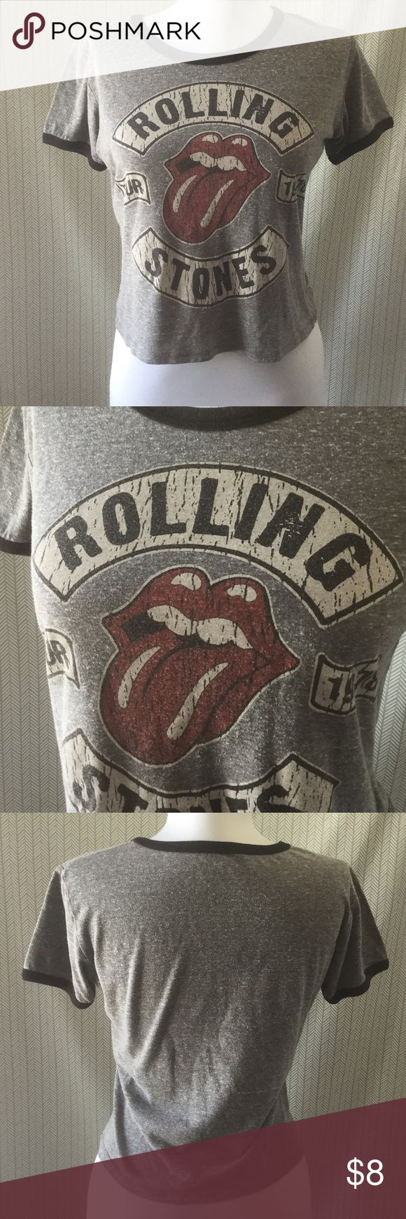 Rolling Stones Rock Concert Style Tee Size M Heather gray distressed look, branded merchandise by Rolling Stones **Not an actual concert tee**.  Perfectly worn in! Rolling Stones Tops Crop Tops