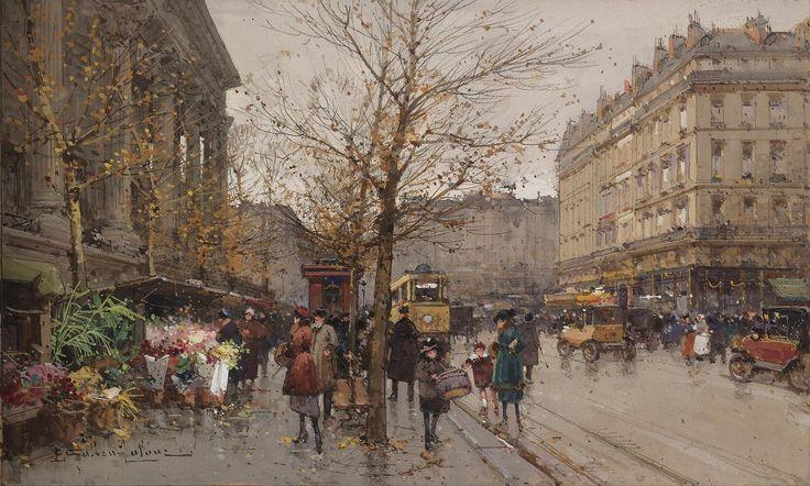 Цветочный рынок у ла Мадлен (19 х 31.5 см). Eugene Galien-Laloue