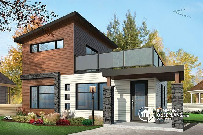 CONTEMPORARY TINY HOME WITH 2 BEDROOMS  2-storey 2 bedroom small and tiny Modern house with deck on 2nd floor, affordable building costs  http://www.drummondhouseplans.com/house-plan-detail/info/joshua-contemporary-1001041.html