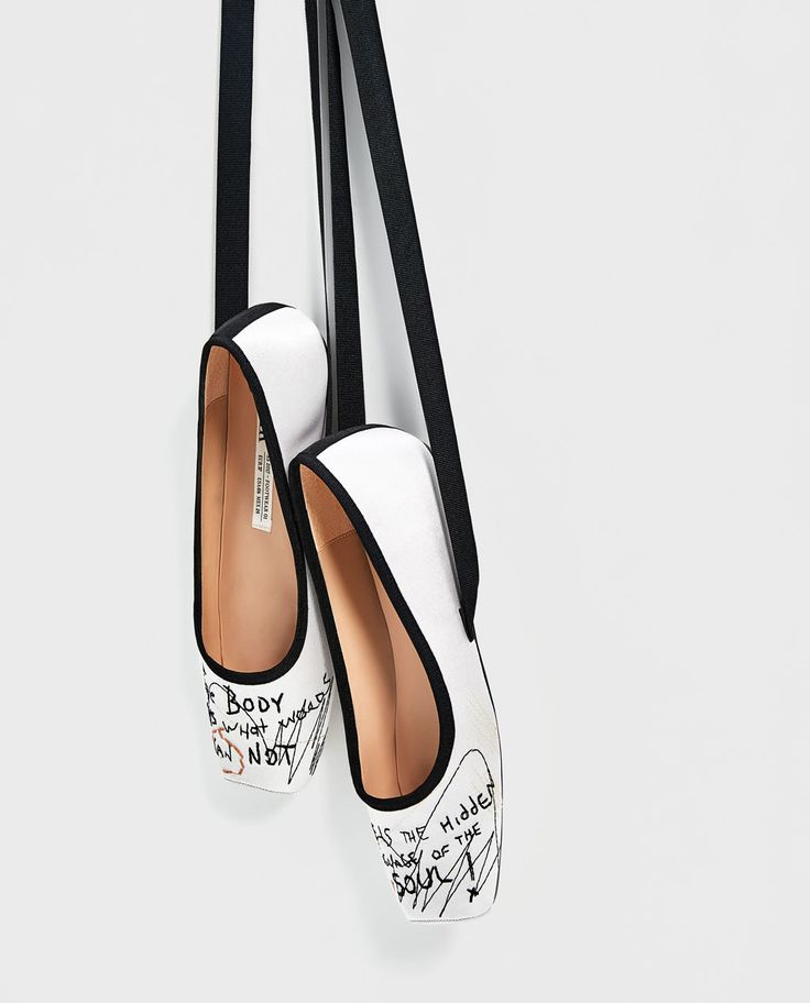 SATIN BALLERINAS WITH EMBROIDERY