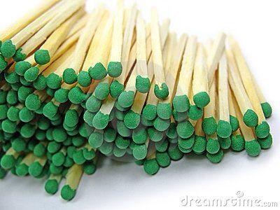 Group of green head matchstick