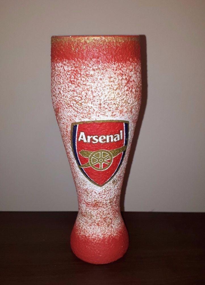 #decoupage #football #arsenal #bier #glass #footballgift #footballdesign #handmade #footballsouvenir