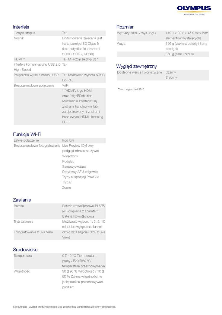 Olympus OM-D E-M10 - specyfikacja 9/9