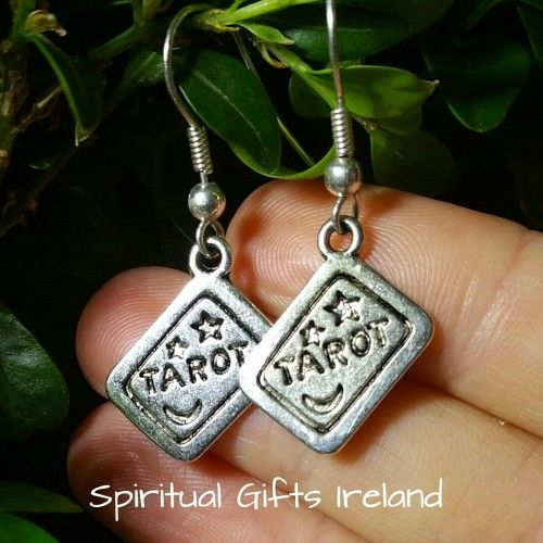 Tarot Earrings. Add a touch of gypsy intrigue with these handmade tarot earrings. Finished in vintage silver