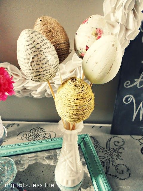 DIY Easter egg bouquet, Easter egg wrapped with newspaper and strings,  easter egg decor ideas  #st  #patrick #food #dessert #decor #ideas www.loveitsomuch.com