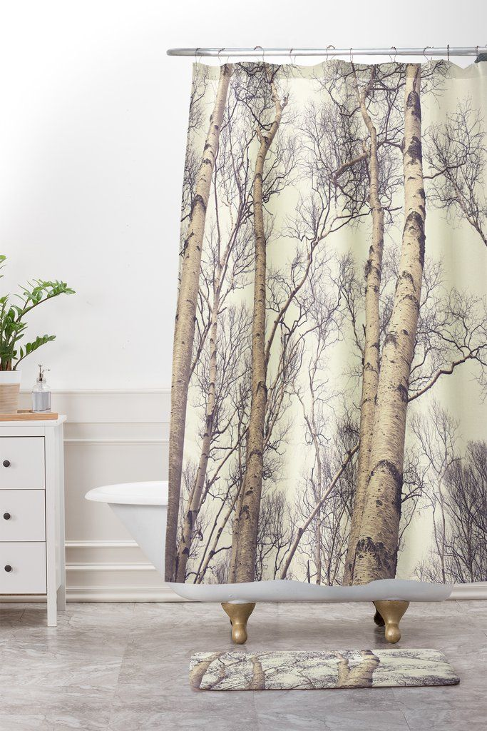 Winter Birch Trees Shower Curtain And Mat Olivia St Claire