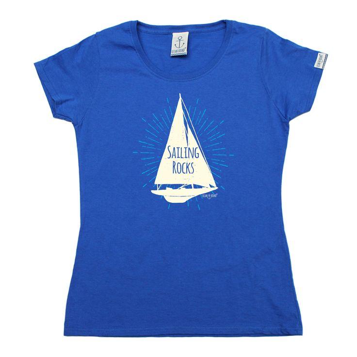 Ocean Bound Women's Sailing Rocks Boat Design Sailing T-Shirt