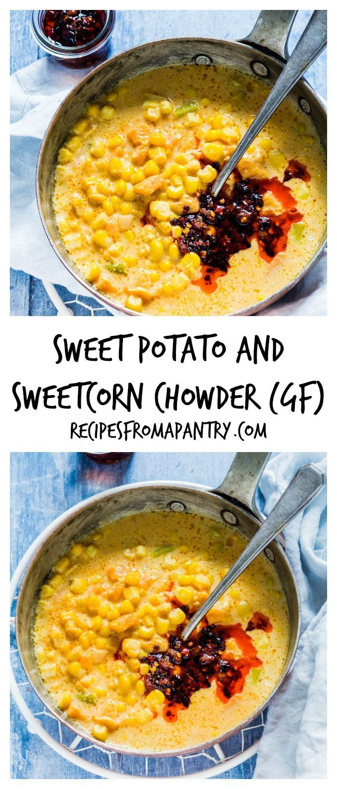This sweet potato and sweetcorn chowder is a great gluten-free summer soup recipe packed with sweetcorn, sweet potato, milk and smoked paprika. Recipesfromapantry.com