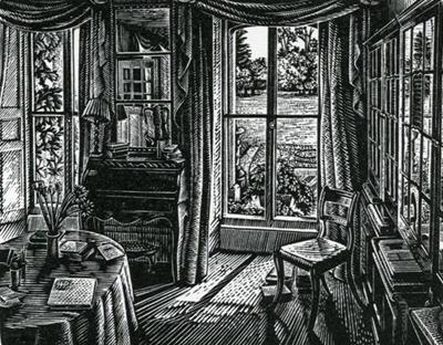 "Howard Phipps (English, b. 1954) - ""The Drawing Room, Barnsley House"" (wood engraving)"