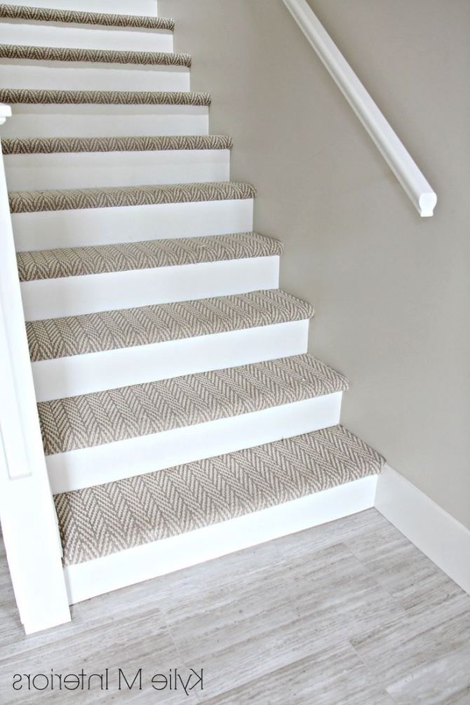 Stairs With Carpet Herringbone Treads And Painted White Risers | White Stairs With Carpet | Black | Chic | Victorian Staircase Carpet | Hardwood | Pinstripe Grey