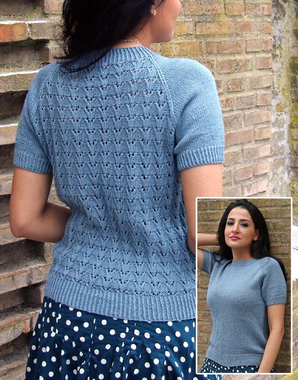 7511ae144e3d1 Free Knitting Pattern for Toulouse Top - An 8 row repeat lace pattern adds  elegance to the back of this short-sleeved pullover tee with a vintage look.