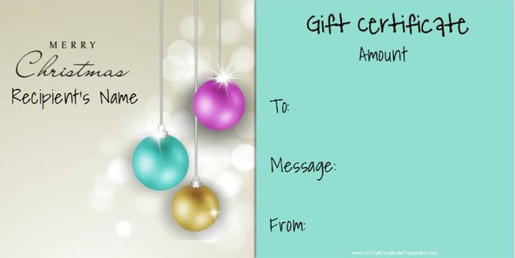 Christmas Gift Certificate Templates that can be personalized for free!