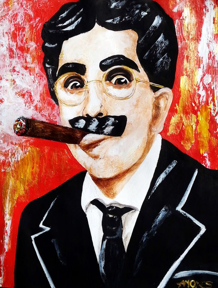 Groucho Marx 2 Julius Henry Marx (October 2, 1890 – August 19, 1977), known professionally as Groucho Marx Acrylics,11x14,paper
