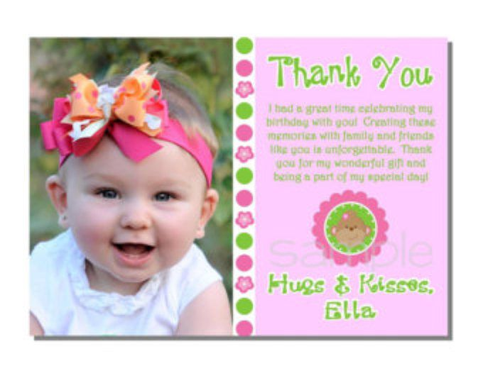 Mod Monkey Thank You Card Birthday Party - DIGITAL or PRINTED