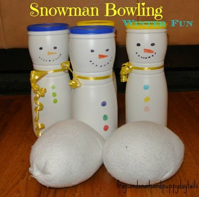 .Snowman Bowling with sock snowballs