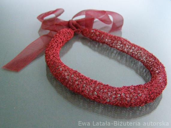 RED  NECKLACE -  made of special red wire. Handmade designer jewellery. Unique, new, unparalleled by EcoDyeing on Etsy