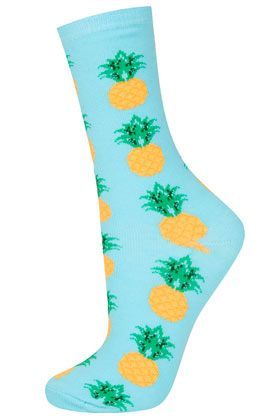 Turquoise Pineapple Ankle Sock