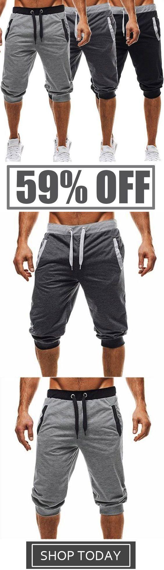 Mens Harem Pants Slacks Shorts Sport Sweatpants Tr…