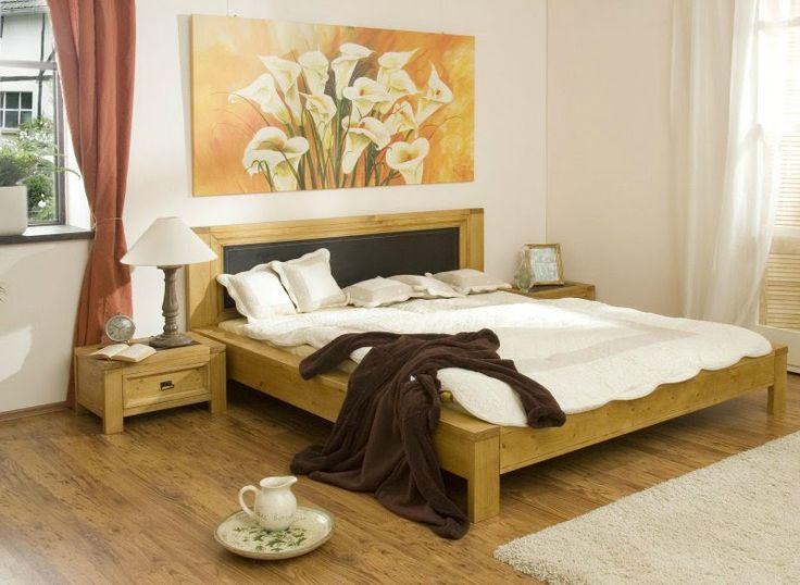 feng shui chambre double lit en bois massif plancher et tableau arums - Chambre En Bois Massif