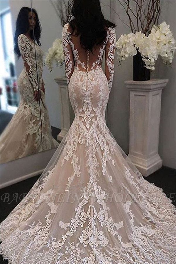 Long Sleeve Lace Mermaid Btidal Gowns Gorgeous Retro Sheer Tulle Wedding Dress In 2020 Wedding Dress Train Sweep Train Wedding Dress Lace Bridal Gown
